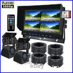 9 DVR Quad Monitor Splitscreen 4x 4PIN 1080P Rear View Camera 32GB Kit For Tuck