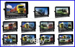 9 QUAD MONITOR+4x 18 IR LED REAR VIEW REVERSE CCD CAMERA 4PIN KIT FOR TRUCK BUS