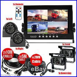 9 Quad Monitor 12V 24V 4Pin 4x IR CCD Camera Front/Rear/Left/Right Package Kit