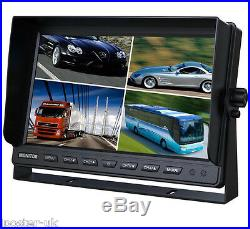9 Quad Monitor For Truck Tractor Reversing Security 4x CCD Rear View Camera Kit