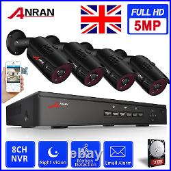 ANRAN 1920P POE Security IP Camera System CCTV Kit Outdoor 8CH NVR with 2TB HDD