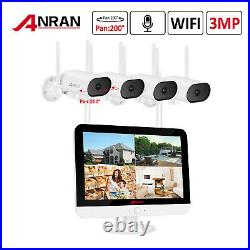 ANRAN 3MP Outdoor Wireless Security WIFI Camera System 12''LCD Monitor CCTV NVR