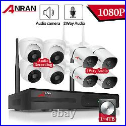 ANRAN CCTV 8CH 2way Audio Wireless 1080P Home Security Camera System 2TB HDD Kit