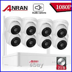 ANRAN Outdoor Wireless Security Camera System Audio 1080P HD NVR CCTV WiFi Kit
