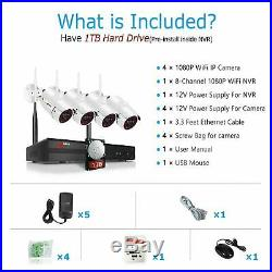 ANRAN Wireless Security WIFI Camera System 1080P 8CH Outdoor 1TB HDD NVR CCTV HD