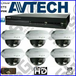 AVTECH 6CAM KIT 2TB HD IP NVR PoE CCTV15M INDOOR 720P HD NIGHTVISION DOME SYSTEM
