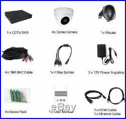 Blupont 1TB 5MP 4K CCTV System DVR+4x UHD Dome Cameras Outdoor Night Vision UK