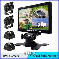 Bus Truck 7 Quad Split Monitor +4x Waterproof IR Night Vision Backup Camera Kit