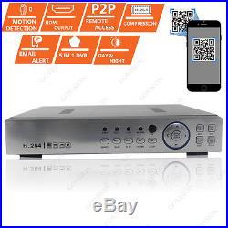 CCTV 4CH HD DVR Record 1080P 2.4MP Night Vision Camera Home Security System Kit
