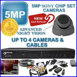 CCTV HD 1080P 5MP Night Vision Outdoor DVR Home Security System Kit UK