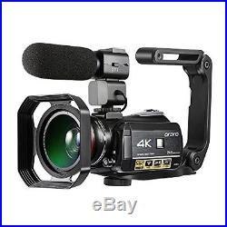 Camcorder Kit, Ultra HD Video Camera 1080P 60FPS WiFi Camera IR Night Vision