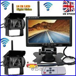 Caravan Trailer Truck Wireless Dual Reversing Camera Rear View Kit 7 HD Monitor