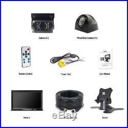 Caravan Truck Van Side / Rear View 4PIN Kit 7 Split Monitor + 4x IR CCD Camera