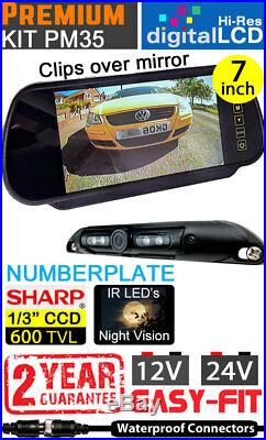 Easy-Fit Hi-Res 7 Mirror Reversing Camera Kit Numberplate CCD Camera- PM35