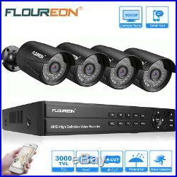 FLOUREON 8CH 1080N CCTV DVR 4PCS 3000TVL Outdoor Camera Home Security System Kit