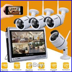 FLOUREON 8CH 12 Monitor 1080P WIFI NVR Outdoor CCTV Camera Wireless System Kit