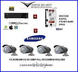 FULL 1080P HD-SDI 4 x SAMSUNG FULL HD CCTV CAMERA KIT +4 CHANNEL NETWORK DVR