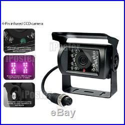 For Motorhome Bus 2x Camera Rear View Reversing CCD 4Pin Kit & 7 Mirror Monitor