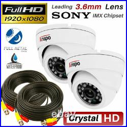 Full HD 4CH CCTV DVR Recorder+2x 1080P Indoor/Outdoor 2MP Camera DVR System Kit