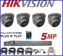 HIKVISION 5MP 4Ch Dvr & 4x HD TVI 5MP Camera's HD CCTV System GRAY, 2 TB HDD UK