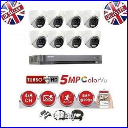 HIKVISION DVR 4K BiTS CCTV 5MP COLORVU CAMERAS NIGHT VISION CCTV SYSTEM KIT UK