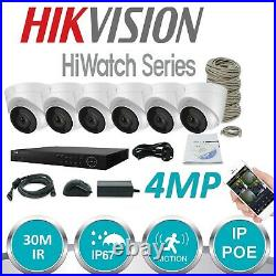 HIKVISION HIWATCH CCTV SYSTEM KIT 8 CHANNEL 4MP NVR with 6 x 4MP TURRET CAMERA