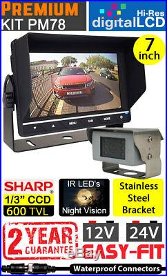 Heavy Duty 7 Dash Monitor and polished Stainless Steel Bracket Reversing camera
