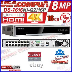 Hikvision 16ch Poe Darkfigter Security System 4k Nvr 2mp Bullet /hdd Optional