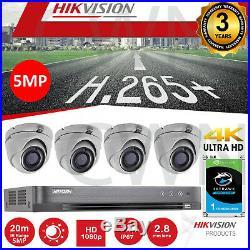 Hikvision 5MP CCTV 1080P Night Vision 20M Cameras DVR Home Security System Kit