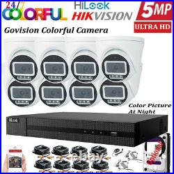Hikvision 5mp Cctv Hd Colorful Night Vision Outdoor Dvr Home Security System Kit