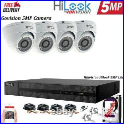Hikvision 5mp Cctv System 4ch Dvr Hd Dome Camera White Night Vision Outdoor Kit