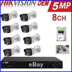 Hikvision 5mp Cctv System 4k-uhd Dvr 8ch Exir 20m Night Vision Camera Kit 4tb