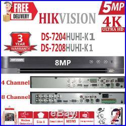 Hikvision 5mp Cctv System Full Hd 4k Dvr 4ch 8ch Exir 40m Nightvision Camera Kit