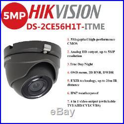 Hikvision 5mp Cctv System Uhd 4k Dvr 4ch 8ch 20m Ir Night Vision Grey Camera Kit