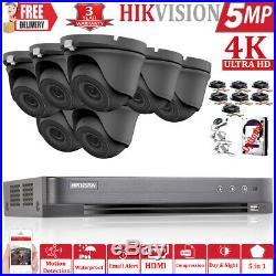 Hikvision 5mp Cctv System Uhd 4k Dvr 4ch 8ch Exir 20m Night Vision Camera Kit Uk