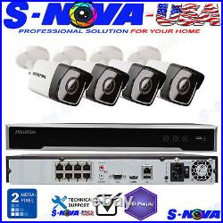 Hikvision 8 CH Channel 4K 8MP NVR with4 x 2MP Bullet IP POE Camera Security System