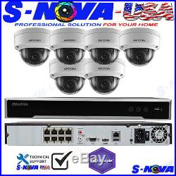 Hikvision 8 CH Channel 4K 8MP NVR with 6 x 2MP Dome IP POE Camera Security System