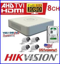 Hikvision 8 Channel 4 Cameras Kit 1080p Hd Ds-7108hghi-f1/n 1080p H264+ 1tb