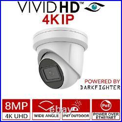 Hikvision 8mp 4k Uhd Cctv System Poe 8ch Channel Nvr Darkfighter Dome Camera Kit