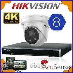 Hikvision Acusense Cctv System 8mp 4k Poe 4ch Nvr Darkfighter Dome Camera Uk Kit