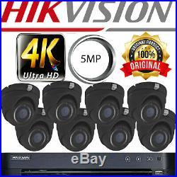 Hikvision Black Cctv System 4ch 8ch Dvr Hd 2k 20m Night Vision Dome Cameras Kit