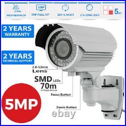 Hikvision CCTV HD 1960P DVR 5MP 70M Varifocal Camera Home Security System Kit