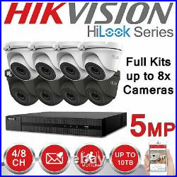 Hikvision Cctv System 5mp 4ch 8ch Dvr Turbo Dome Hd Turret Camera White Grey Kit