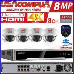 Hikvision DS-7608NI-Q2/8P 8 CH 4K 8MP NVR 4 x 4MP Dome IP POE Camera System