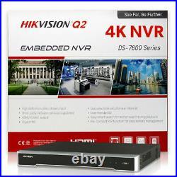 Hikvision DS-7616NI-Q2/16P 16CH 4K 8MP NVR 16 x 4MP Dome IP POE Camera System 6T