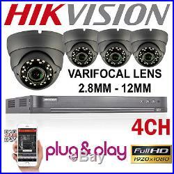 Hikvision Dvr Cctv System 2.4mp Varifocal Dome Cameras 30m Night Vision Home Kit