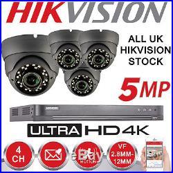 Hikvision Dvr Hd Cctv System 5mp Varifocal Dome Camera 30m Night Vision Home Kit
