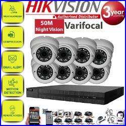 Hikvision Dvr Hd Cctv System 5mp Varifocal Dome Camera 50m Night Vision Home Kit