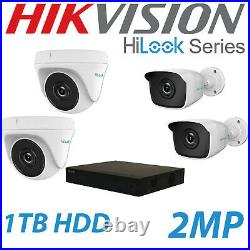 Hikvision Hilook Cctv Camera Kit 2mp 2x Bullet & 2 Dome 2mp 1tb Hdd System White