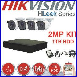 Hikvision Hilook Cctv Kit Box 4x Bullet 2mp Camera System With 1tb Hdd Outdoor